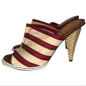 FENDI Cloth Striped Mule Open Back Sandal Shoes